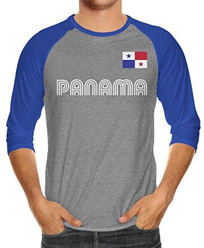 Raglan Royal T-shirt Blue Heather (SpiritForged Apparel Panama Soccer Jersey Unisex 3/4 Raglan Shirt, Royal/Heather Medium)