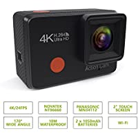 PRUVUE PV59 4K Touchscreen Action Camera, 16MP Panasonic Image Sensor, Novatek NT96660, 2.0'' LCD Touchscreen, 10M Waterproof, Wi-Fi, With 2 Rechargeable Batteries, Accessories Kit, Portable Bag
