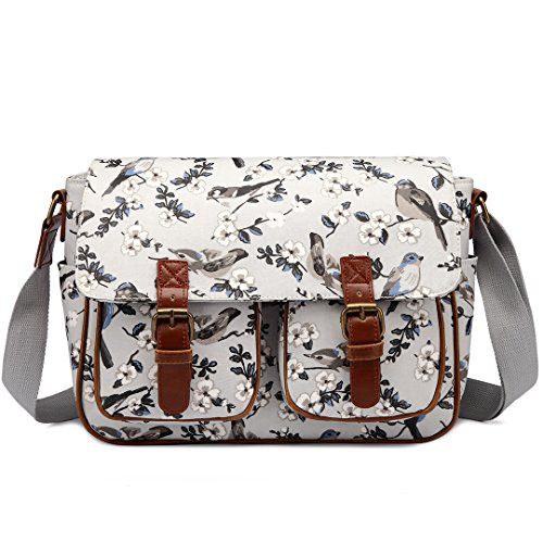 Miss Lulu Ladies Messenger Shoulder Bag Flower Bird Design Oilcloth Cross Body Messegner Satchel Bag