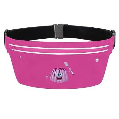 Pink Jelly Running Belt Funny Waist Pack Zipper Pockets For Running Hiking Cycling Climbing