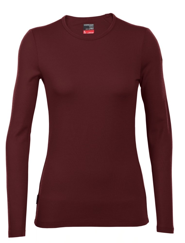 Icebreaker Merino Women's Tech Top Long Sleeve Crew Top, Redwood, Small