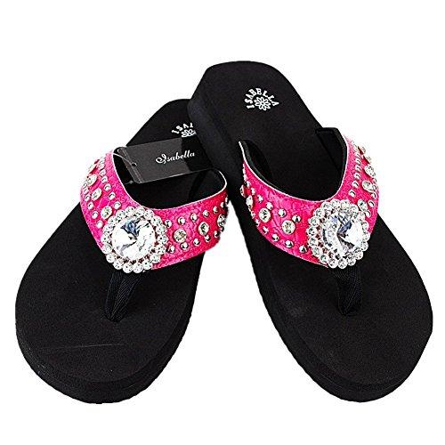 Western Rhinestone Bling Concho Flip Flops in 5 Colors S061 (Medium, Hot Pink) - Texas Flip Flop
