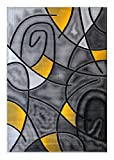 Masada Rugs, Modern Contemporary Area Rug, Yellow Grey Black (8 Feet X 10 Feet)