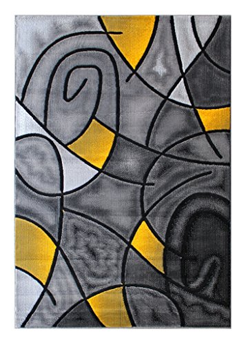 Masada Rugs, Modern Contemporary Area Rug, Yellow Grey Black (8 Feet X 10 Feet) by Modern Masada Rugs