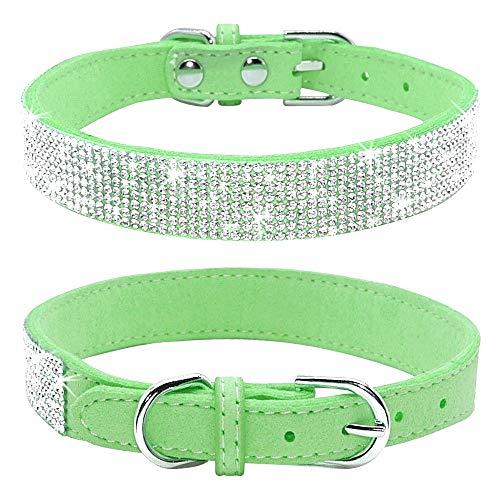 haoyueer Rhinestone Dog Collar, Cute Dazzling Sparkling Soft Suede Leather Dog Cat Rhinestone Collar Crystal Diamond Pet Dog Puppy Collar(Green,S)