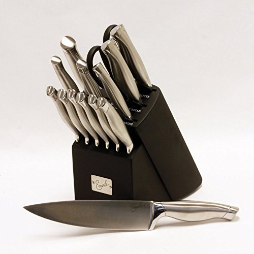 New Kitchen 15 Piece Silver Handle Stainless Steel Cutlery Knife Wooden Block Set by FNG Homestead