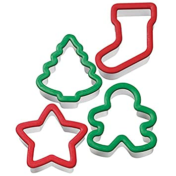 Amazon.com: Wilton Holiday Grippy Cookie Cutters, Set of 4 ...