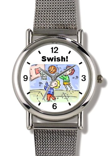 Children Playing Basketball Basketball Theme - WATCHBUDDY ELITE Chrome-Plated Metal Alloy Watch with Metal Mesh Strap-Size-Large ( Men's Size or Jumbo Women's Size ) by WatchBuddy