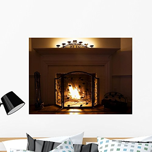 Wallmonkeys Fireplace with Burning Logs and Candles Peel ...