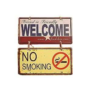 Ruiting Señal de Puerta Prohibido Fumar Colgante Retro Signo Positivo y no Fumadores Muestra de Metal Estilo de la Calle lamentable Placa de la Pared ...