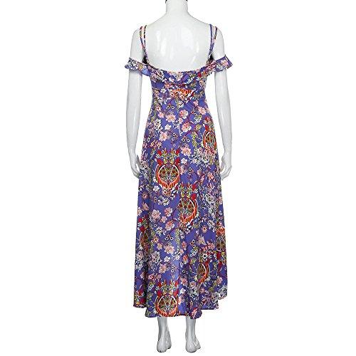 SKY Celebrate for the Prime Day !!! Mujeres Honda de la moda con cuello en V vestido de la impresión irregular Long Evening Party Beach Dress Sundress Púrpura