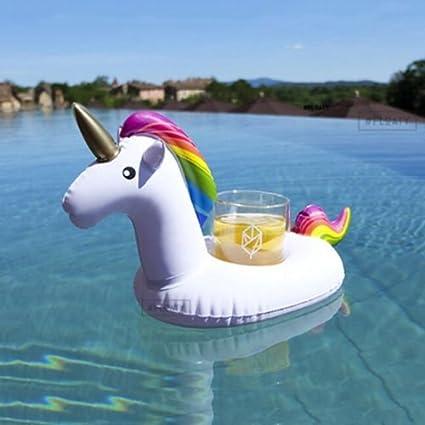 Flotador inflable posavasos en forma de unicornio tamaño gigante para la piscina o playa. Unicornio flotador hinchable posavasos para la piscina o la ...