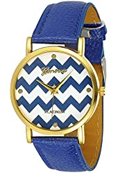 Women's Geneva Chevron Style Leather Watch - Blue