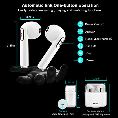 Wireless Earbuds Earphones, Bluetooth Earbuds Headphones in-Ear Noise Cancelling Earbuds Earpiece with Mic Charging Case Earbuds, Sport Running Mini Stereo Bass Earbuds for iOS Android by Kindak (Image #2)