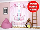 Factory4me Pink Princess Curtains For Girls Kids Room Bedroom Personalized Custom Window Crown Decor 2 Panels Set With Your Name 96 Inch Review