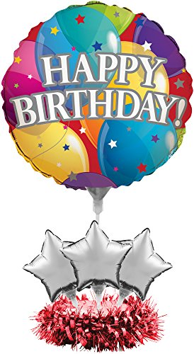 Birthday Table Centerpiece Party (Creative Converting 268809 Metallic Happy Birthday Balloon Centerpiece Kit Party Supplies, One Size, Multicolor)