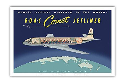 de Havilland Comet Jetliner - BOAC (British Overseas Airways Corporation) - Newest Fastest Airliner in the World! - Vintage Airline Travel Poster c.1950 - Master Art Print - 12in x 18in
