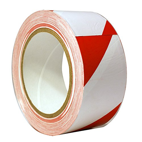StaticTek Red/White Hazard Marking Floor Tape | Caution Warning Safety Stripe Vinyl Tape | 2 Inch X 108 Foot Roll -