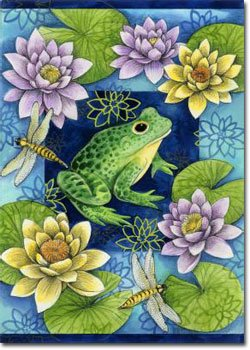 Frog and Water Lilies - 28 x 40 Toland Art Banner Flagline
