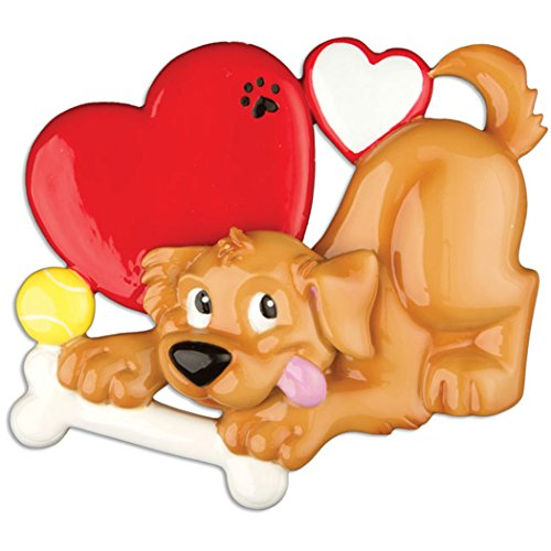 Personalized Dog Lover Christmas Tree Ornament 2019 - Playful Caramel Fluffy Paw Heart Aww Faithful Fur-Ever Neutral Brown Beige Yellow Labrador Golden Retriever Spaniel Gift - Free Customization (Christmas Ornament Personalized Dog)