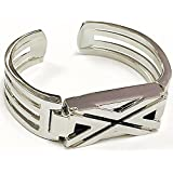 BSI New Silver Metal Replacement Jewelry Bracelet With Unique Style X Design Silver Metal Housing For Fitbit Flex Smart Band