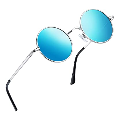 f6001668a25d Joopin-Round Retro Polaroid Sunglasses Driving Polarized Sun Glasses Men  Steampunk Vintage (Ice Blue)