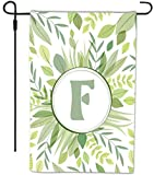 Rikki Knight Letter F Monogram Green Leaves Foliage Design Design Decorative House or Garden Flag 12 x 18 inch full bleed (Proudly Printed in the USA)