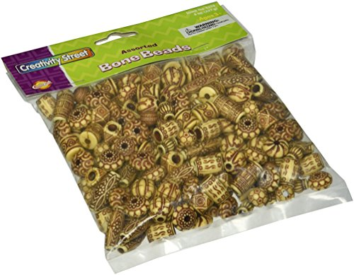 (Creativity Street Natural Mixed Plastic Bone Beads, Assorted Shapes and Sizes, 8 Ounces)