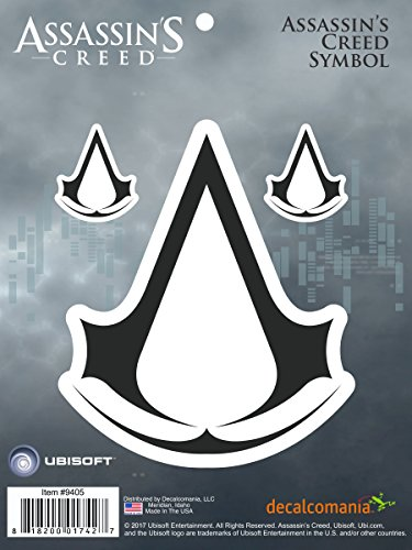 Decalcomania LLC Assassin's Creed Ubisoft Logo Icon Crest Sticker Decals for Laptop, Cell Phone, Tablet, Vehicle Licensed by Ubisoft (Crest Sticker)