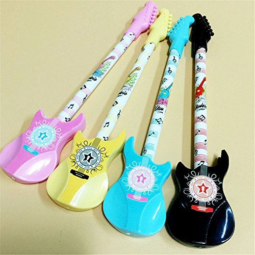 Cute Kawaii Musical Instruments Guitar bass Shape Gel Ink Pens school office supplies for girls Stationery novelty pens for kids stationary Gift (4)