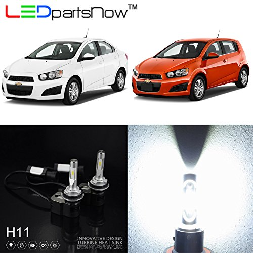 LEDpartsNow 2012-2015 Chevrolet Sonic Hatchback Sedan H11 Low Beam Xenon White LED Headlight Bulbs Conversion Replacement Kit, 5000K