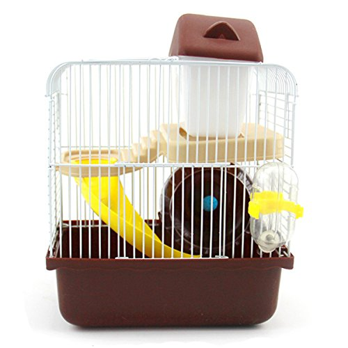 Autumn Water Practical 2 Floors Storey Hamster Cage Mouse house with slide disk spinning bottle Color in random