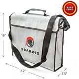"Spardis Spartan Shield XXL Fireproof Money Bag (16""x12""x3.5"") Dual Layer Fire Resistant Lipo Bag w/ Handle, Shoulder Strap, Heat-Proof Aluminum, No-Itch Silicone Coated Fiberglass & Heavy-duty Zipper"