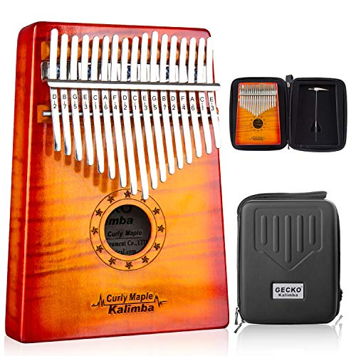 GECKO Kalimba 17 Key Thumb Piano with Hardshell Case Study Instruction Song Book Tuning Hammer for Beginners C Tone Turned (Orange)