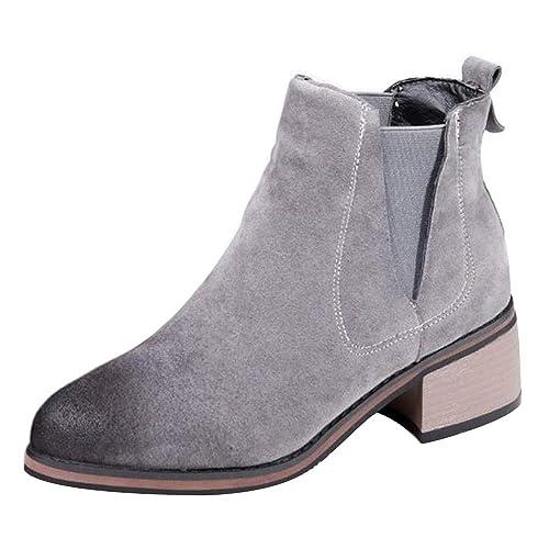 RAZAMAZA Botas Mujer Moda sin Cordones Chelsea Botas Tacón Ancho Caliente Botines de Tobillo Invierno Grey