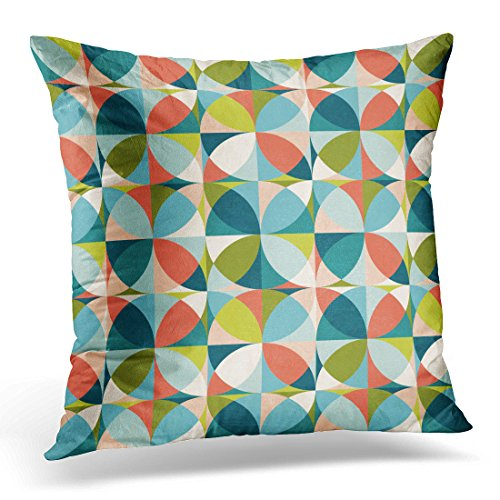 Breezat Throw Pillow Cover Blue 1950S Abstract Geometric in Mid Century Modern Colors with Green 1960S Carpet Decorative Pillow Case Home Decor Square Pillowcase 513EFmfFboL