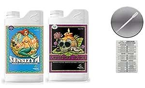 Avanzado nutrientes Voodoo zumos y Sensizym Bundle con doble tabla de conversión de Canarias y 3ML Pipeta