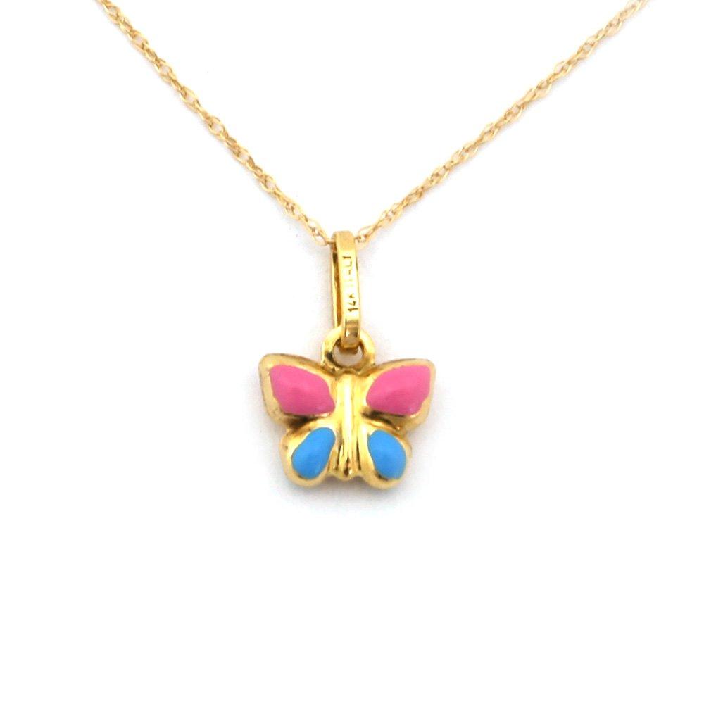 Girl's 14k Yellow Gold Enamel Butterfly Pendant Necklace - 18''