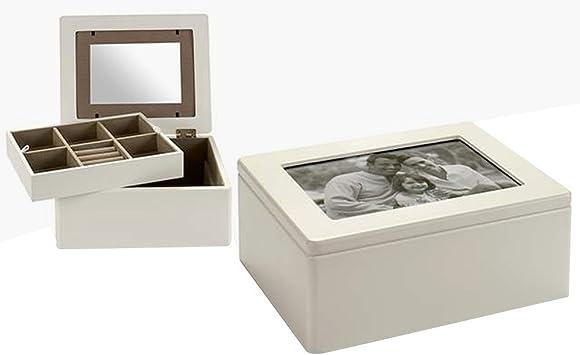 Joyero con marco fotos y espejo interior caja para joyas de madera ...