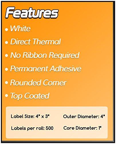 1 Inch Core - 4 x 3 Zebra Compatible Direct Thermal Labels 4 Packs for Zebra Desktop Printer GC420d GC420t GK420d GK420t GX420d GX420t GX430t LP2844 LP2442 TLP2844 ZP450 ZD500 ZD500R ZP500 ZP505 Photo #6