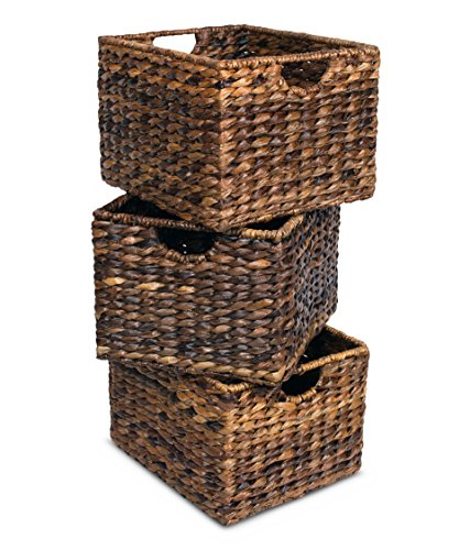 """BIRDROCK HOME Woven Storage Shelf Organizer Baskets with Handles - Set of 3 - Abaca Wicker Basket - Pantry Living Room Office Bathroom Shelves Organization - Under Shelf Basket - Handwoven (Espresso) - BEAUTIFUL ORGANIZATION: organize your home without missing out on a beautiful, decorative design. Keep your home shelves organized by using the baskets to stow away magazines, toys, books, dog toys, papers, files, electronics and other household items within the uniquely designed seagrass bins. Baskets are carefully handwoven giving each one a unique touch SPACIOUS INTERIOR: large interior measuring 8.25"""" H x 11.75"""" L x 10"""" W, gives you plenty of space to store a variety of household items. FITS MOST SHELVES: designed to fit most décor shelves, book shelves, pantry shelves, kitchen shelves, bathroom shelves, etc. (Measure shelves before purchasing to avoid returning) - living-room-decor, living-room, baskets-storage - 513EHAm OYL -"""