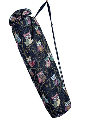 BTP! Handmade Yoga Mat Bag with pocket Totes Sling Bags Cotton Lining Ethnic Thai Adjustable Strap (Black Owl YGb)