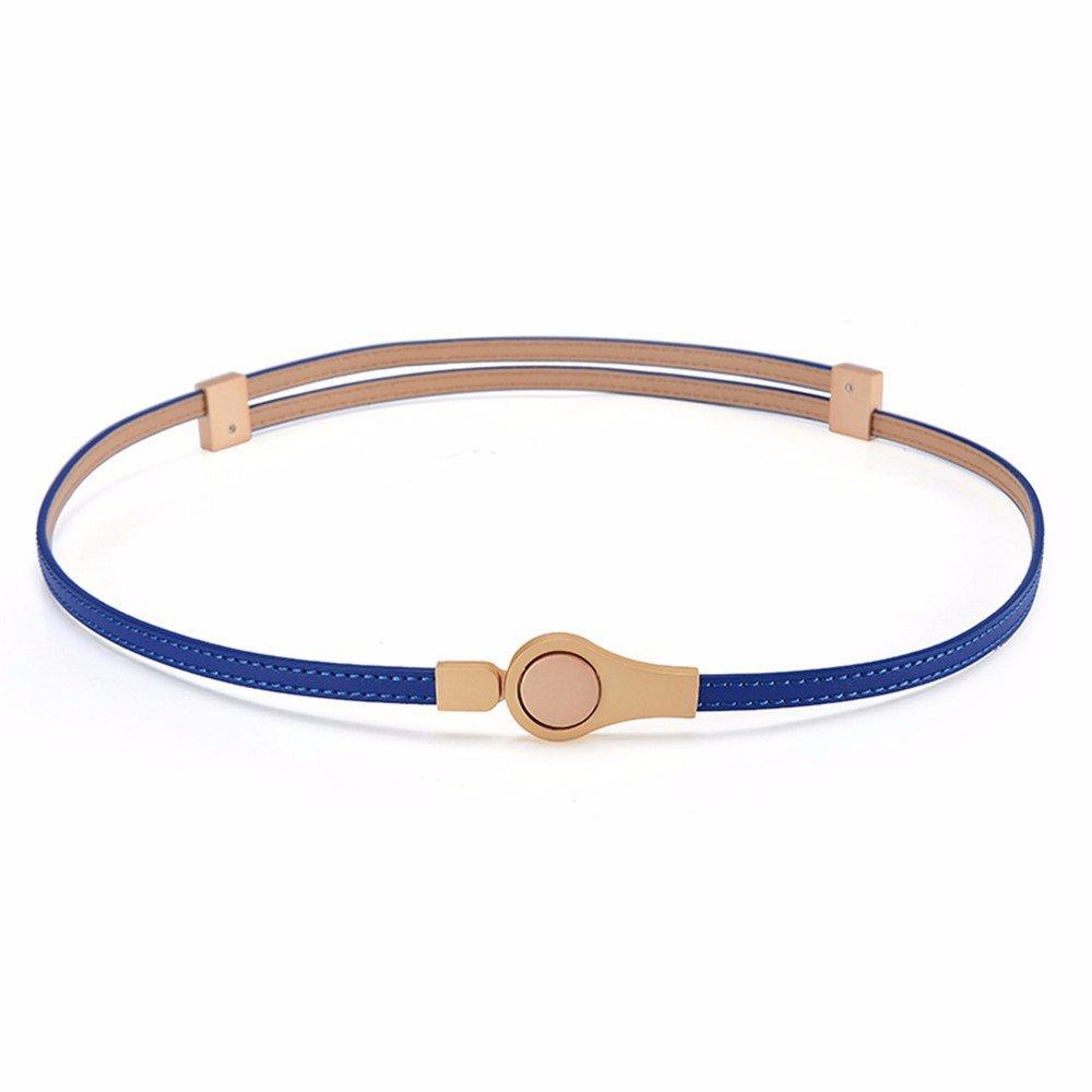 SAIBANGZI Ms Women All Seasons Belt Decoration Simple Dress Fine Leather Fashion Belt Girlfriend Present Blue 100Cm