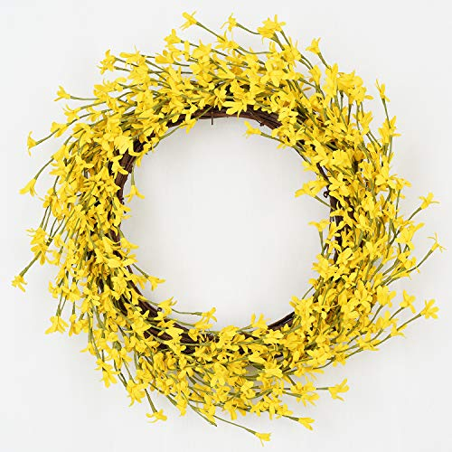 Lvydec Artificial Forsythia Flower Wreath - 16