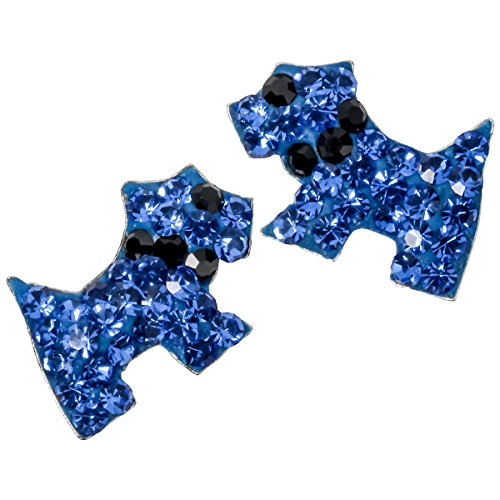 YACQ Jewelry 925 Sterling Silver Crystal Dachshund Dog Puppy Stud Earrings for Women Teen Girls (Blue)