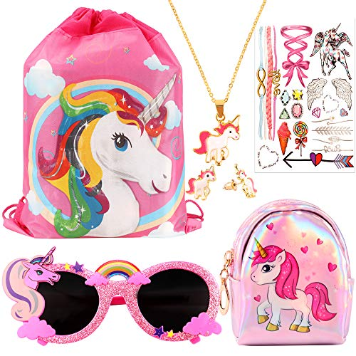 CoocleApril 7PCs Unicorn Party Favors Girl Gift Bags Glasses Necklace Earring Coin Purse Tattoo Sticker Party Gifts for Kids Girls -