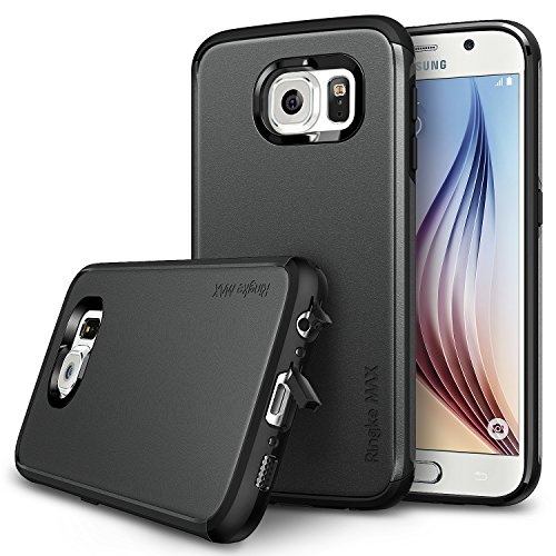 Galaxy S6 Case - Ringke MAXDust-Free Cap & Drop Protection [FREE HD Film / SLIM MAX Protection][GUNMETAL] Double Layer Heavy Duty Protection Armor Case for Galaxy S6 - Eco Package by Ringke