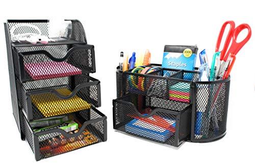 - 2 Piece Desk Organizer Set - Mesh Desk Supply Oval Caddy and 3 Drawer Mini Hutch Storage Organizer - Black Office Desk Organizer Set 2pc (2)