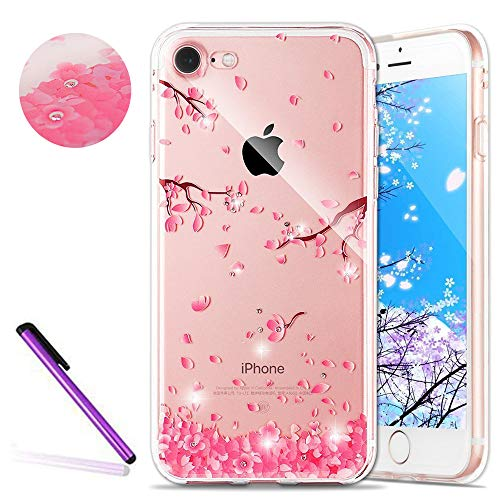 HMTECHUS iPhone 6 case 4.7 inch for Girl Glitter Transparent Sparkle Luxury Rhinestone Clear Rubber Gel Soft Flexible Silicone Inner Crystal Slim Cover for iPhone 6S TPU Pink Cherry Blossom