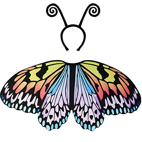 Kids Fairy Butterfly-Wings Costume for Girls with Antenna-Headband Party Supplies -